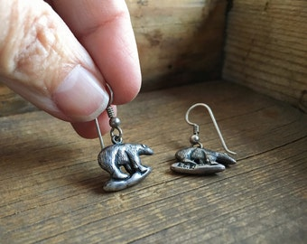 Vintage Mexican sterling silver bear earrings Polar Bear jewelry bear lover gift protector amulet