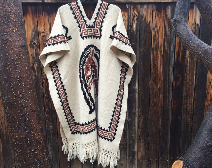 Featured listing image: Authentic Mexican Poncho Women's Western Poncho with Horse Design, Hippie Clothes