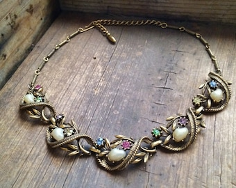 1950s Coro rhinestone and pearl choker vintage antiqued brass Something Old wedding necklace