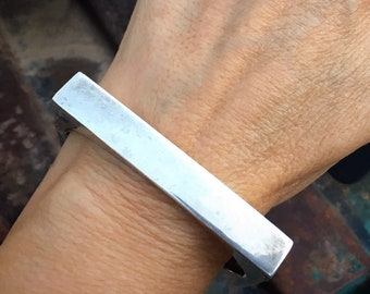 45g Modernist Mexican Sterling Silver Geometric Rectangle Hinged Bracelet, Chunky Square Edge Bangle
