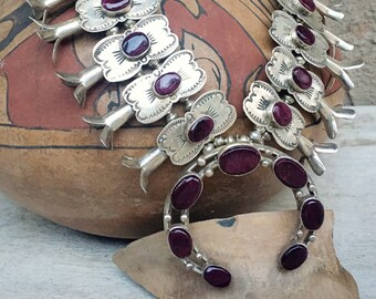 Small 76g Purple Sugilite Box Bow Squash Blossom Necklace, Southwestern Native American Jewelry, Rodeo Western Style, Gift for Daughter NFR