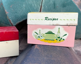 Pair of 1950s Chippy Creaky Distressed Metal Recipe Boxes (Empty), Vintage Authentic Retro Decor