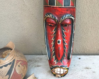 Vintage Carved and Painted Wood Mask Wall Hanging Folk Art, Goma Tribal Decor, Tiki Style