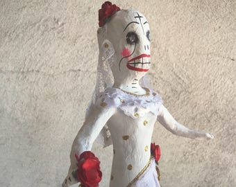 Vintage Mexican Day of the Dead Catrina Bride Paper Mache Calavera, Wedding Gift, Skeleton Bride