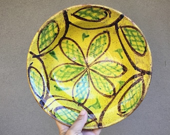 Vintage Yellow and Green Clay Pottery Bowl from Pakistan Islamic Decor Bohemian Style