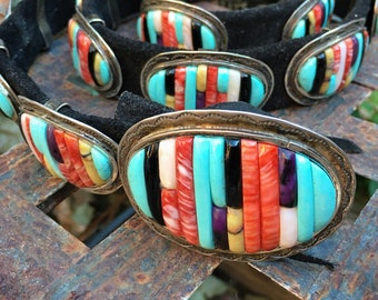 1970s Carlos Eagle Concho Belt Cornrow Inlay Turquoise Multi Gemstone, Native America Indian
