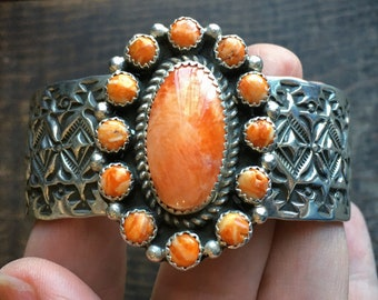 Navajo Sterling Silver Orange Spiny Oyster Cuff Bracelet, Native American Indian Cluster Jewelry