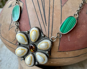 "Sterling Silver Cowrie Seashells Pendant and Malachite Necklace 21"", Navajo Native American Jewelry"