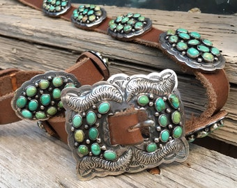 Native American Concho Belt Sterling Silver Green Turquoise, Southwestern Navajo Belt Unisex