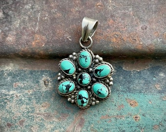 Small 925 Sterling Silver Turquoise Cluster Pendant, Vintage Southwestern Style Jewelry, December Birthday Gift Girlfriend Daughter Niece