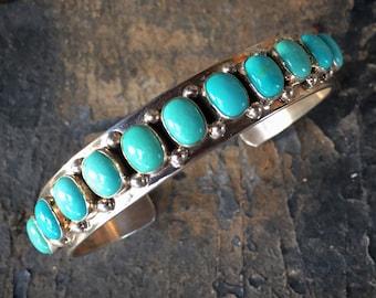 "Eleven-Stone Turquoise Sterling Silver Row Cuff Bracelet Size 6-7/8"", Navajo Daniel Wood Native American Indian Jewelry Women Men Unisex,"