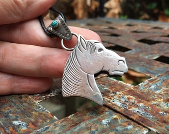 Navajo Made Sterling Silver Horse Pendant with Turquoise, Native American Indian Jewelry Equine Mule
