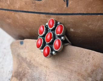 Navajo Renelle Perry Dainty Mediterranean Coral Cluster Ring Size 5.5, Native American Jewelry