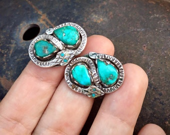 1950s Natural Turquoise Clip On Earrings with Winding Snake in Zuni Effie Calavaza Style