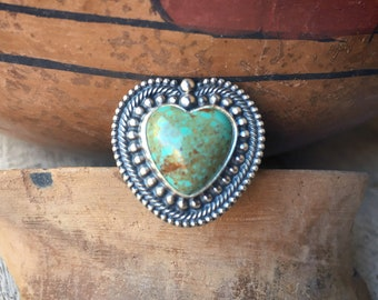 Southwestern Sterling Silver Turquoise Heart Ring Size 8.5, Native America Indian Style Jewelry by Carolyn Pollack, Granddaughter Gift