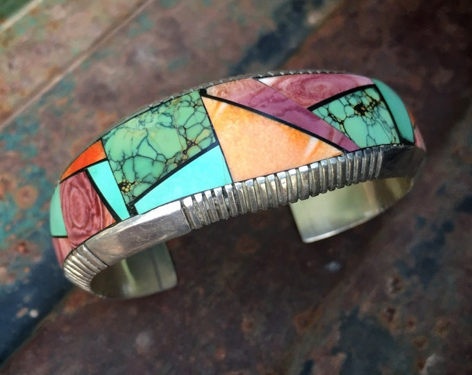 Featured listing image: Navajo Frank Yellowhorse Channel Inlay Cuff Bracelet Turquoise Spiny Oyster, American Indian