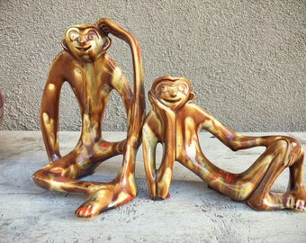 Modernist Sculpture Ceramic Monkeys with Elongated Arms, Mid Century Decor Monkey Figurines