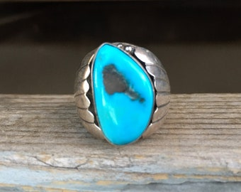 Heavy Men's Navajo Turquoise Ring Size 11.25, Native American Indian Jewelry, Southwestern Gift Dad