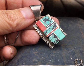 Multi-stone Turquoise Pendant of Channel Inlay by Navajo Alfred Martinez, Native American Jewelry