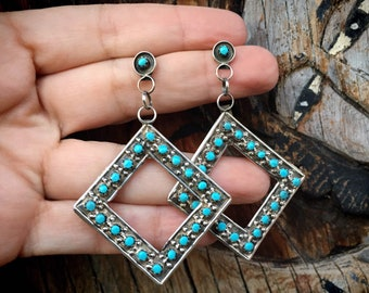 Light and Long Zuni Snake Eye Turquoise Dangle Earrings for Women, Native American Indian Jewelry, Mother's Day Gift for Mom Wife Sister