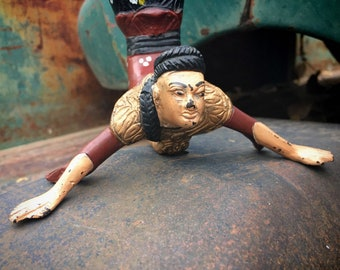 Heavy Vintage Hand Painted Cast Iron Asian Acrobat Candle Holder, Asian Chinoiserie Decor