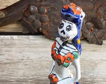 Day of the Dead Skeleton Bride Mexican Pottery Ceramic Calavera, Wedding Decoration