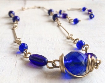 1980s Jewelry Set Cobalt Blue Glass Bead Necklace Earring Set, Wire Wrapped Jewelry