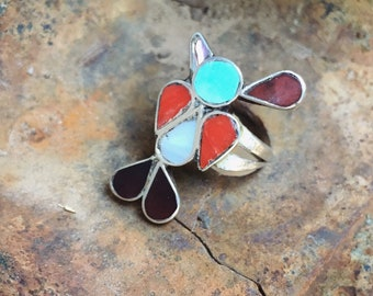 1970s Inlaid Coral Turquoise Ring Peyote Bird Size 6, Zuni Native American Indian Jewelry