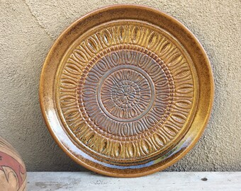 Golden Brown Mid Century Art Pottery Plate Treasure Craft USA, 1970s Stoneware Plates Round Platter