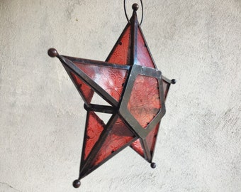 Vintage Metal and Pressed Red Glass Star Candle Holder, Hanging Moroccan Star Candle Lantern, Bohemian Decor