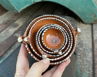 Miniature Vintage Tonala Tlaquepaque Nesting Bowls Trinket Dishes, Mexican Pottery Folk Art