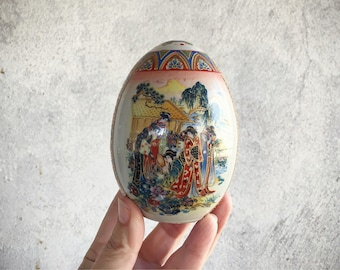 "4-1/2"" Satsuma Egg Hand Painted Porcelain Egg with Geisha Girls, Japanese Egg, Chinoiserie Decor"