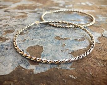 """2-1/2"""" Diameter Sterling Silver Hoop Earrings Large, Bohemian Jewelry, Mod 70s Style Big Hoops"""