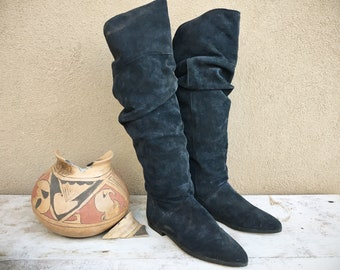 1980s Navy Blue Suede OTK Pirate Boots Women's US Size 7.5, Over the Knee Tall Slouchy Boho Boots