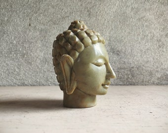 Miniature Buddha Head Carved Marble Green Stone Home Altar Zen Decor, Buddhist Gift