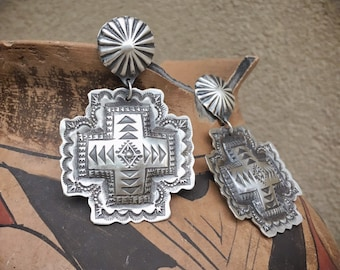 "2-1/4"" Signed Navajo Vince Platero Sterling Silver Concho Earrings, Native American Indian Cross Jewelry"