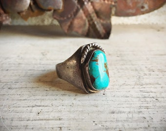 Vintage Turquoise Ring for Men Size 12 Native American Indian Jewelry, Men's Ring, Silver Turquoise Jewelry