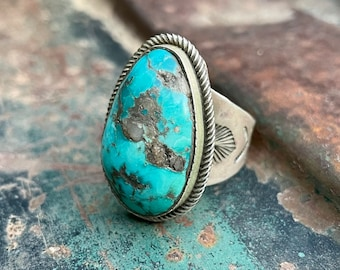 Sterling Silver Domed Turquoise Stone Ring Size 12 by Navajo Richard Jim, Native American Indian Jewelry for Men, Southwestern Gift for Son