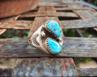 Sterling Silver Turquoise Ring for Men Size 12.25, Navajo Men's Ring, Native American Indian Jewelry