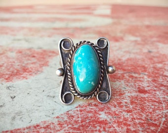 Old Pawn Turquoise Ring, Native America Indian Jewelry, Real Turquoise Jewelry, Vintage Navajo Ring