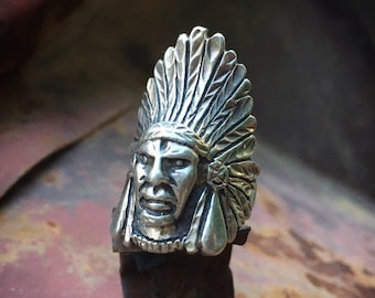 Signed Sterling Silver Native American Indian Chief Ring Size 6.5, Retirement Gift