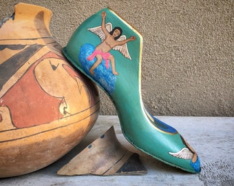 Small Hand Painted Shoe Form Foot Paperweight with Catholic Religious Folk Art Scenes, Wooden Shoe
