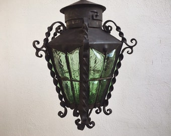 Mexican Patio Decor Forged Iron Green Crackle Glass Hanging Lantern, Spanish Gothic Revival Light Fixture