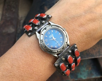 Vintage Sterling Silver Coral Cluster Watch Band with Slide Lock, Navajo Native American Watch Tips
