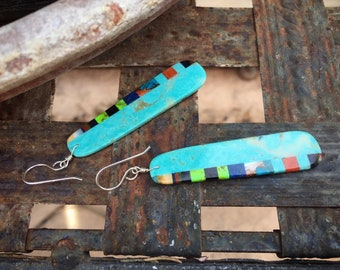 Long Multicolor Blue Turquoise Slab Earrings Santo Domingo Earrings, Native American Indian Turquoise Jewelry