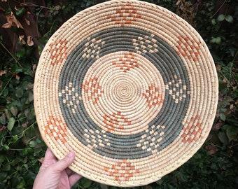 Shallow Woven Basket, Bohemian Decor, Southwestern Decor Native Style Coiled Basket Weaving