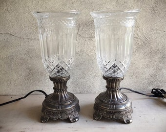 Pair of Vintage Boudoir Table Lamps Godinger Silver and Shannon Crystal Hurricane Lamps Holiday Decor