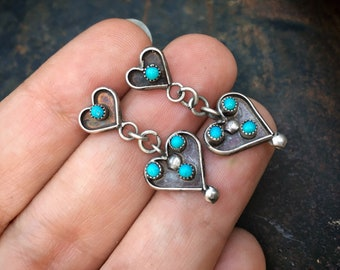 Dainty Turquoise Snake Eye Heart Earrings, Native American Indian Jewelry Bohemian, Gift Idea