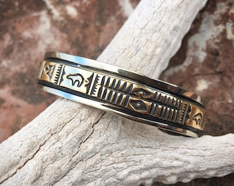 Silver Plated Gold Fill Navajo Stacking Cuff Bracelet for Women Men, Native American Indian Jewelry