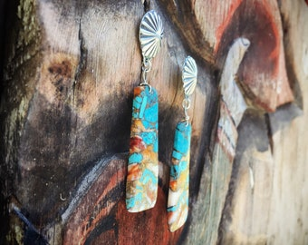 Large Slab Spiny Oyster Turquoise Earrings Native American Jewelry Santo Domingo